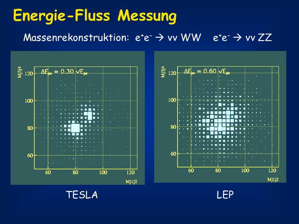 Energie-Fluss Messung Massenrekonstruktion: e + e - νν WW e + e - νν ZZ TESLALEP