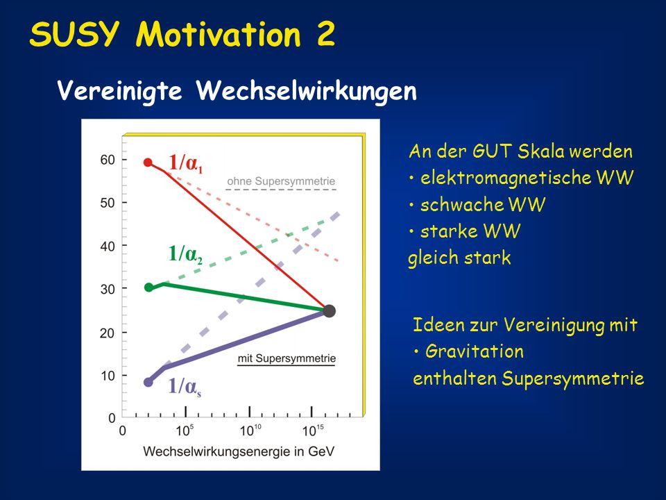 SUSY Motivation 2 Vereinigte Wechselwirkungen An der GUT Skala werden elektromagnetische WW schwache WW starke WW gleich stark Ideen zur Vereinigung m