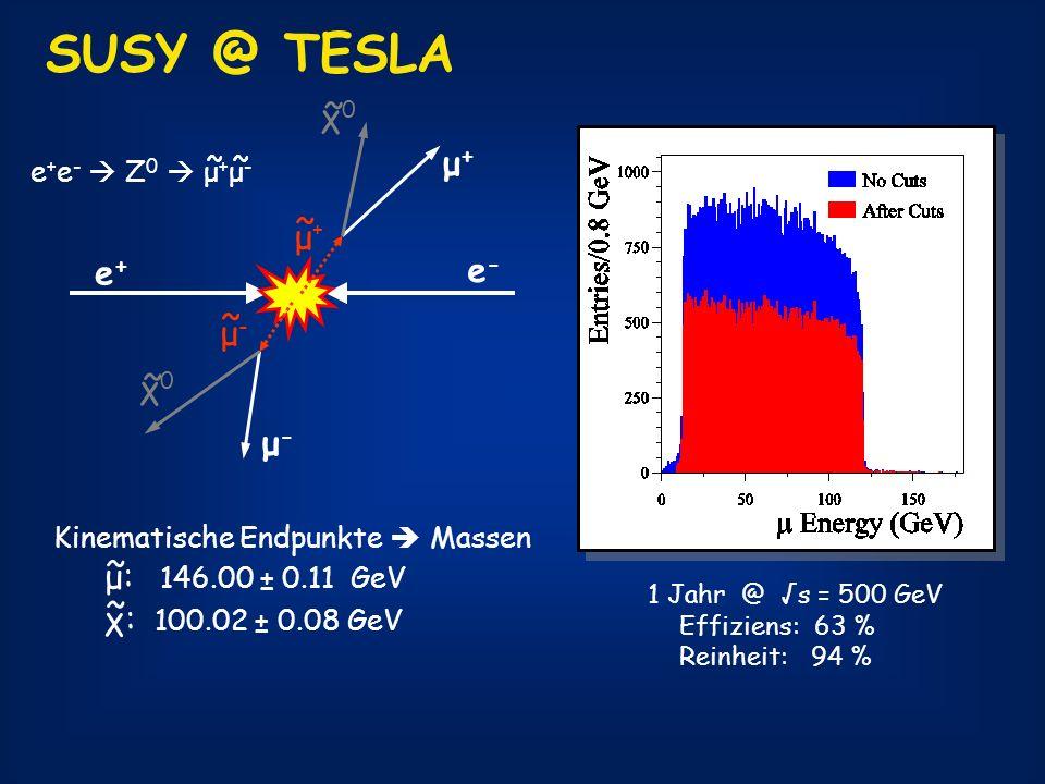 SUSY @ TESLA e+e+ e-e- μ+μ+ μ-μ- χ0χ0 ~ χ0χ0 ~ μ-μ- ~ μ+μ+ ~ e + e - Z 0 μ + μ - ~ 1 Jahr @ s = 500 GeV Effiziens: 63 % Reinheit: 94 % Kinematische En