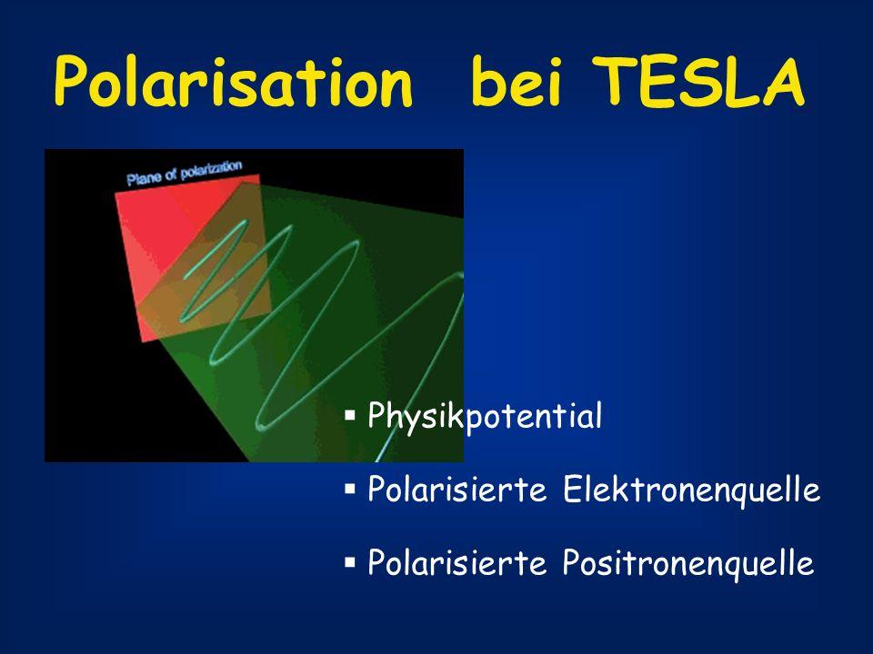 Polarisation bei TESLA Physikpotential Polarisierte Elektronenquelle Polarisierte Positronenquelle