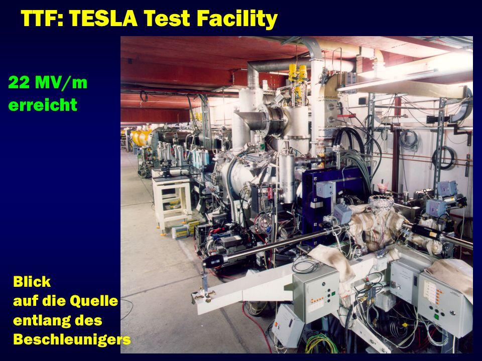 TTF: TESLA Test Facility Blick auf die Quelle entlang des Beschleunigers 22 MV/m erreicht