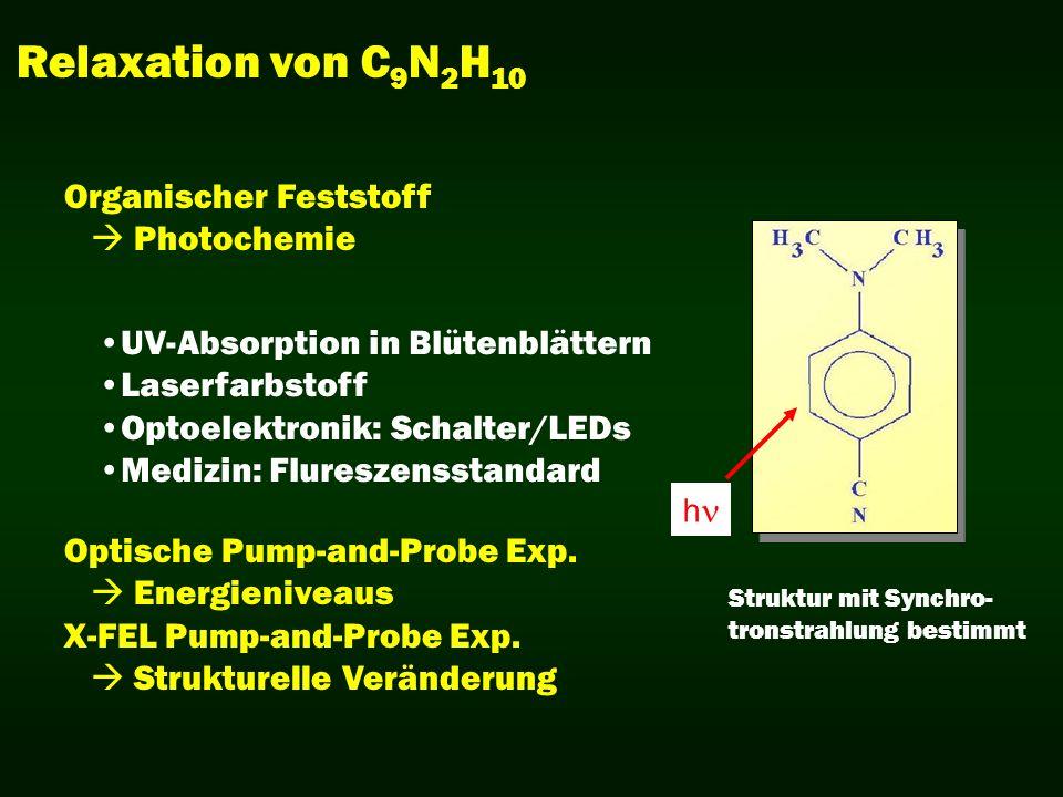 Relaxation von C 9 N 2 H 10 Struktur mit Synchro- tronstrahlung bestimmt Organischer Feststoff Photochemie UV-Absorption in Blütenblättern Laserfarbst