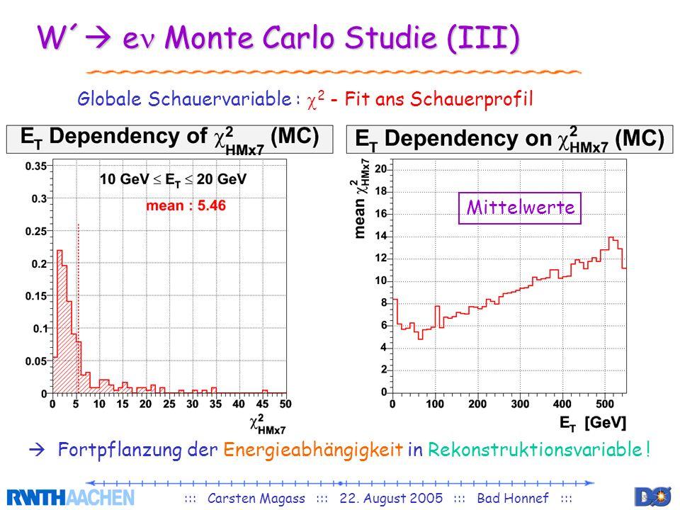 ::: Carsten Magass ::: 22. August 2005 ::: Bad Honnef ::: W´ e Monte Carlo Studie (III) Globale Schauervariable : 2 - Fit ans Schauerprofil Fortpflanz