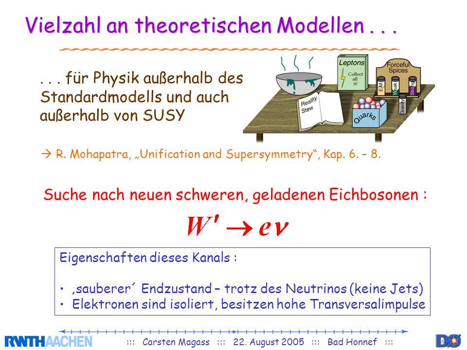 ::: Carsten Magass ::: 22. August 2005 ::: Bad Honnef ::: Vielzahl an theoretischen Modellen...... für Physik außerhalb des Standardmodells und auch a
