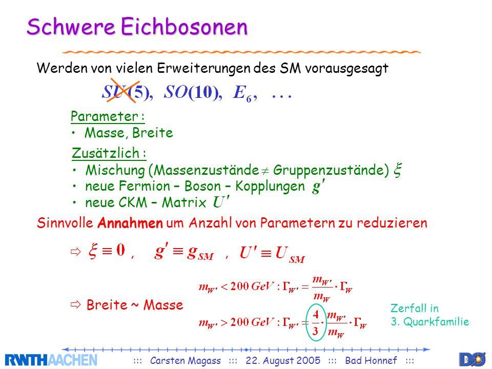 ::: Carsten Magass ::: 22. August 2005 ::: Bad Honnef ::: Schwere Eichbosonen Werden von vielen Erweiterungen des SM vorausgesagt Parameter : Masse, B