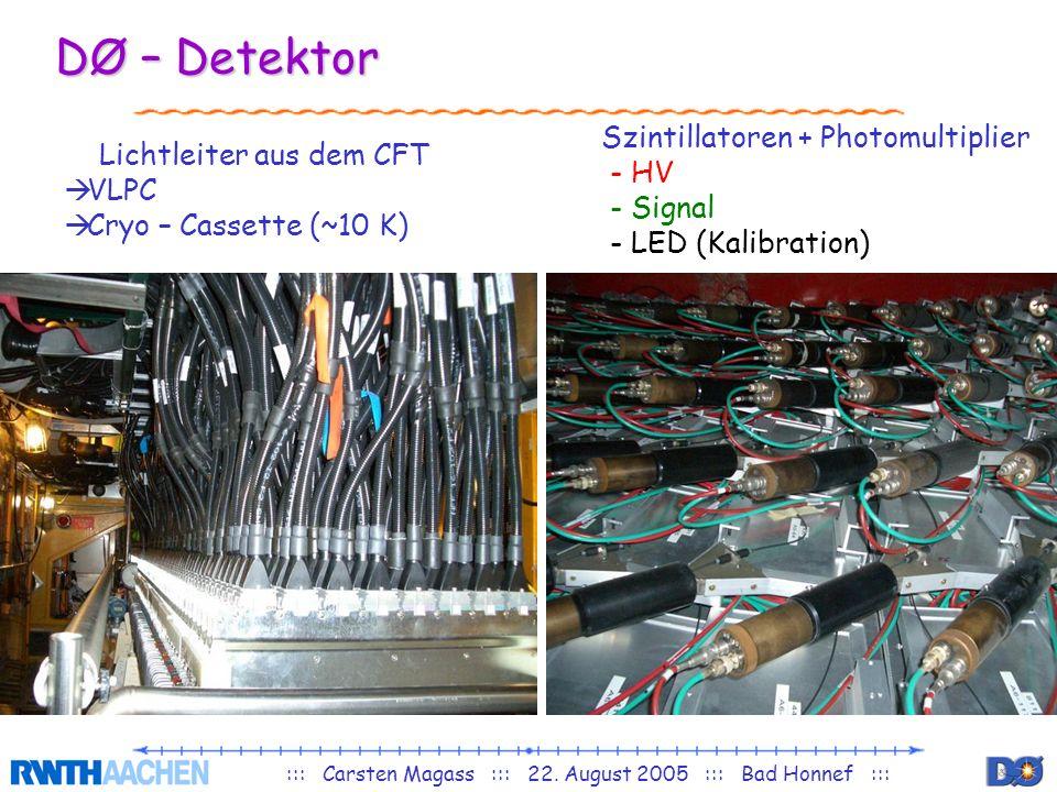 ::: Carsten Magass ::: 22. August 2005 ::: Bad Honnef ::: DØ – Detektor Lichtleiter aus dem CFT VLPC Cryo – Cassette (~10 K) Szintillatoren + Photomul