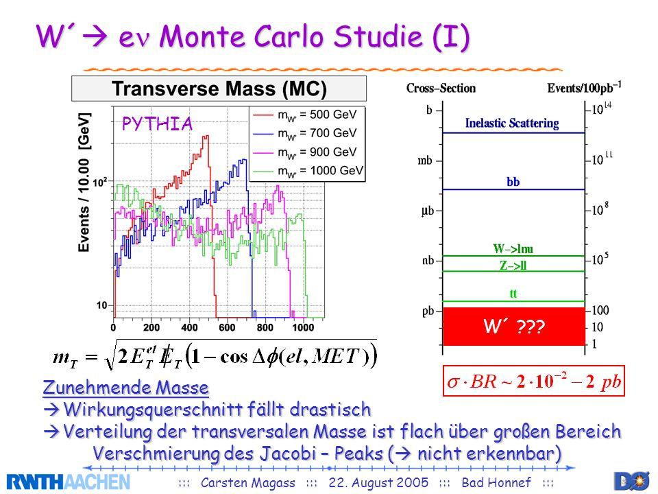::: Carsten Magass ::: 22. August 2005 ::: Bad Honnef ::: W´ e Monte Carlo Studie (I) W´ ??? Zunehmende Masse Wirkungsquerschnitt fällt drastisch Wirk