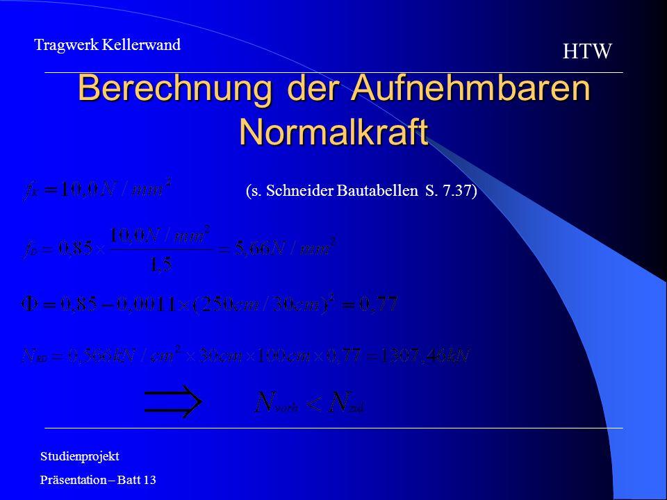 Berechnung der Aufnehmbaren Normalkraft Studienprojekt Präsentation – Batt 13 HTW Tragwerk Kellerwand (s. Schneider Bautabellen S. 7.37)