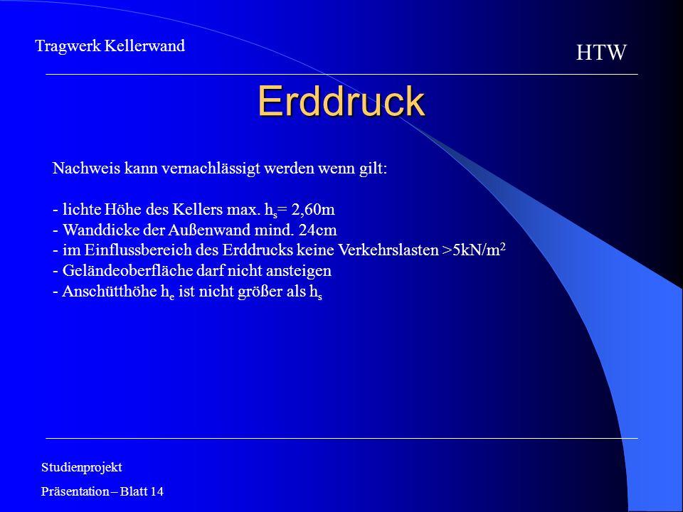 Erddruck Studienprojekt Präsentation – Blatt 14 HTW Tragwerk Kellerwand Nachweis kann vernachlässigt werden wenn gilt: - lichte Höhe des Kellers max.