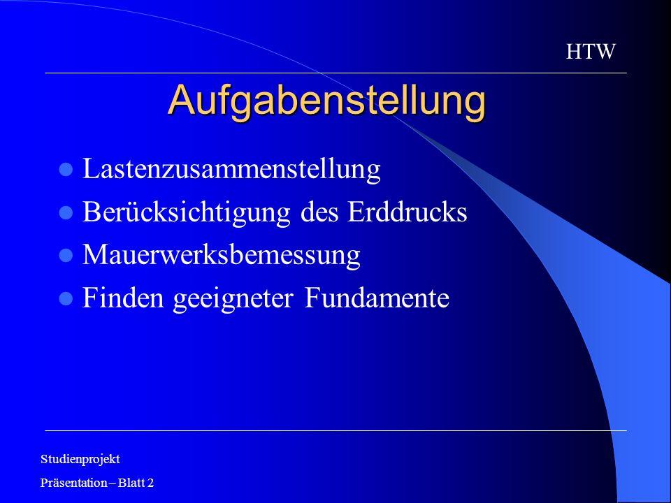 Aufgabenstellung Lastenzusammenstellung Berücksichtigung des Erddrucks Mauerwerksbemessung Finden geeigneter Fundamente Studienprojekt Präsentation –