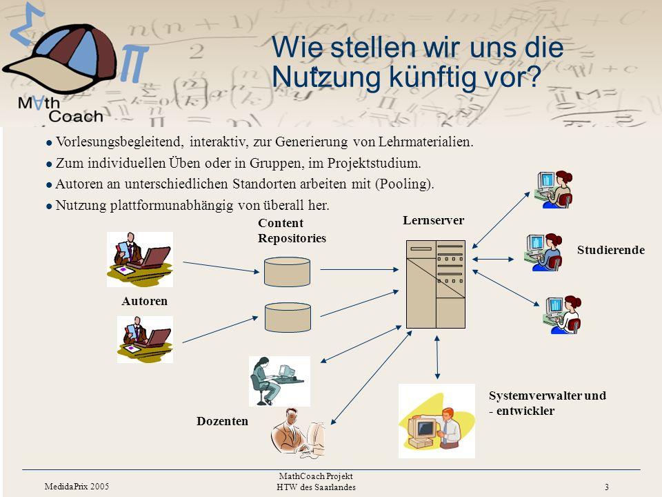 MedidaPrix 2005 MathCoach Projekt HTW des Saarlandes 3 Wie stellen wir uns die Nutzung künftig vor.