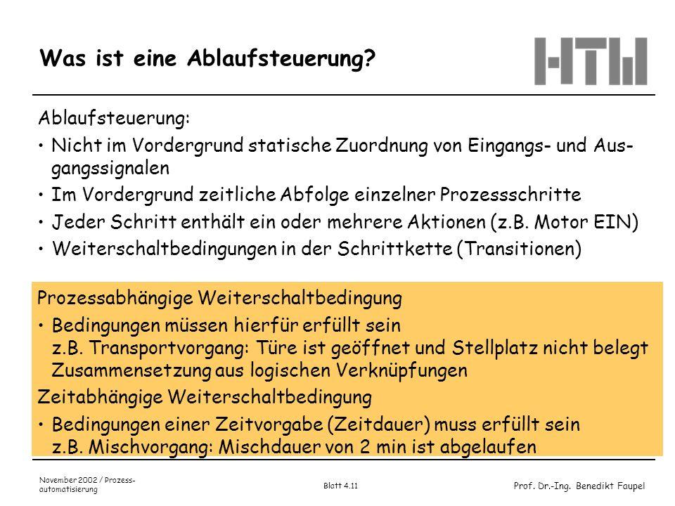 Prof. Dr.-Ing. Benedikt Faupel November 2002 / Prozess- automatisierung Blatt 4.11 Was ist eine Ablaufsteuerung? Ablaufsteuerung: Nicht im Vordergrund