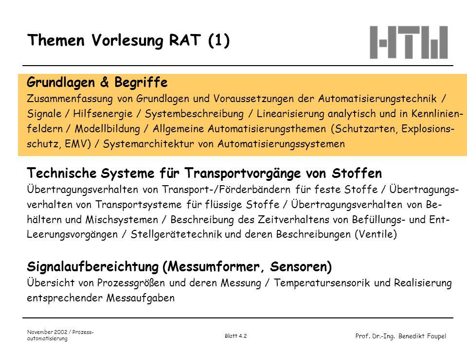 Prof. Dr.-Ing. Benedikt Faupel November 2002 / Prozess- automatisierung Blatt 4.2 Themen Vorlesung RAT (1) Grundlagen & Begriffe Zusammenfassung von G