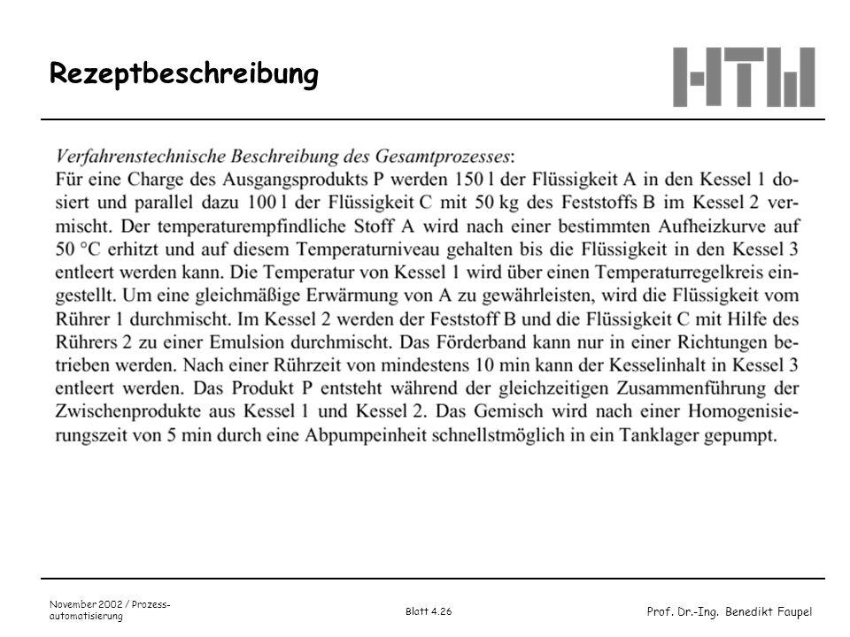 Prof. Dr.-Ing. Benedikt Faupel November 2002 / Prozess- automatisierung Blatt 4.26 Rezeptbeschreibung