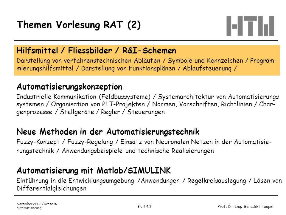 Prof. Dr.-Ing. Benedikt Faupel November 2002 / Prozess- automatisierung Blatt 4.3 Themen Vorlesung RAT (2) Hilfsmittel / Fliessbilder / R&I-Schemen Da