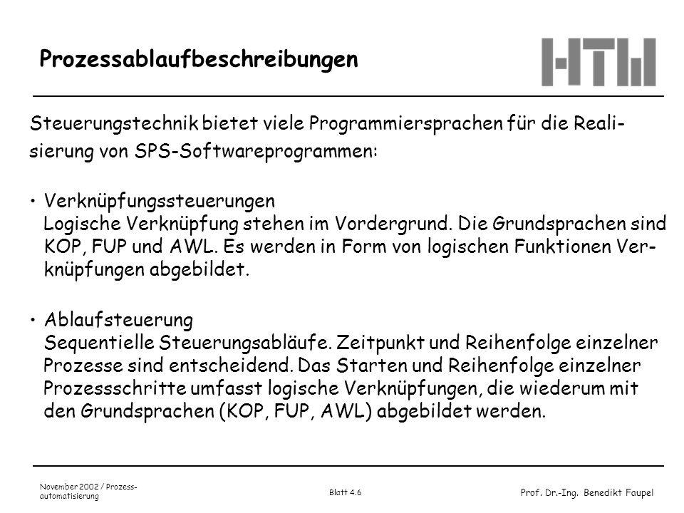 Prof. Dr.-Ing. Benedikt Faupel November 2002 / Prozess- automatisierung Blatt 4.6 Prozessablaufbeschreibungen Steuerungstechnik bietet viele Programmi