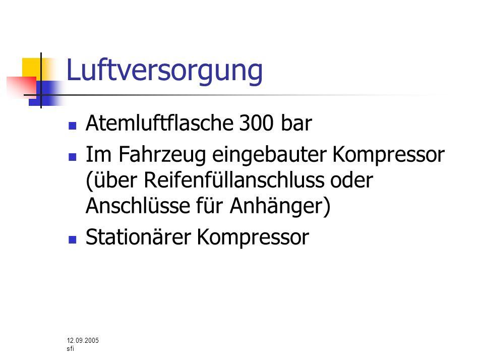 12.09.2005 sfi Luftversorgung Atemluftflasche 300 bar Im Fahrzeug eingebauter Kompressor (über Reifenfüllanschluss oder Anschlüsse für Anhänger) Stati