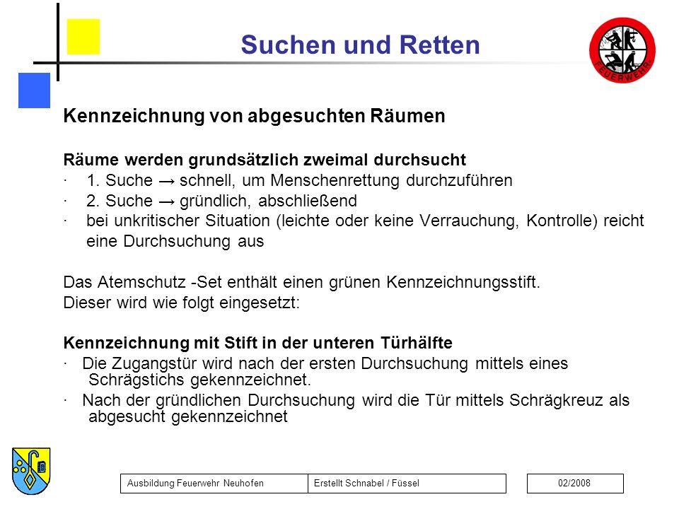 Suchen und Retten Ausbildung Feuerwehr NeuhofenErstellt Schnabel / Füssel02/2008 Kennzeichnung von abgesuchten Räumen Räume werden grundsätzlich zweim
