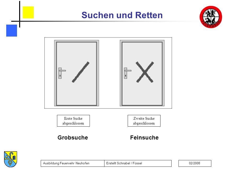 Suchen und Retten Ausbildung Feuerwehr NeuhofenErstellt Schnabel / Füssel02/2008 FeinsucheGrobsuche Zweite Suche abgeschlossen Erste Suche abgeschloss