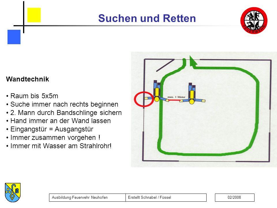 Suchen und Retten Ausbildung Feuerwehr NeuhofenErstellt Schnabel / Füssel02/2008 Wandtechnik Raum bis 5x5m Suche immer nach rechts beginnen 2. Mann du