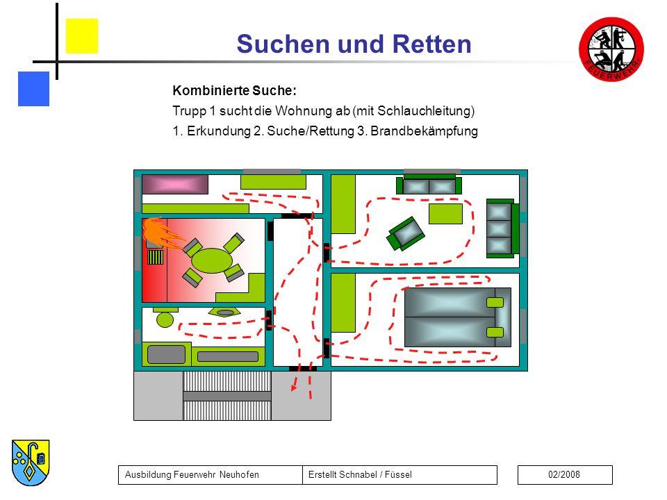 Suchen und Retten Ausbildung Feuerwehr NeuhofenErstellt Schnabel / Füssel02/2008 Kombinierte Suche: Trupp 1 sucht die Wohnung ab (mit Schlauchleitung) 1.