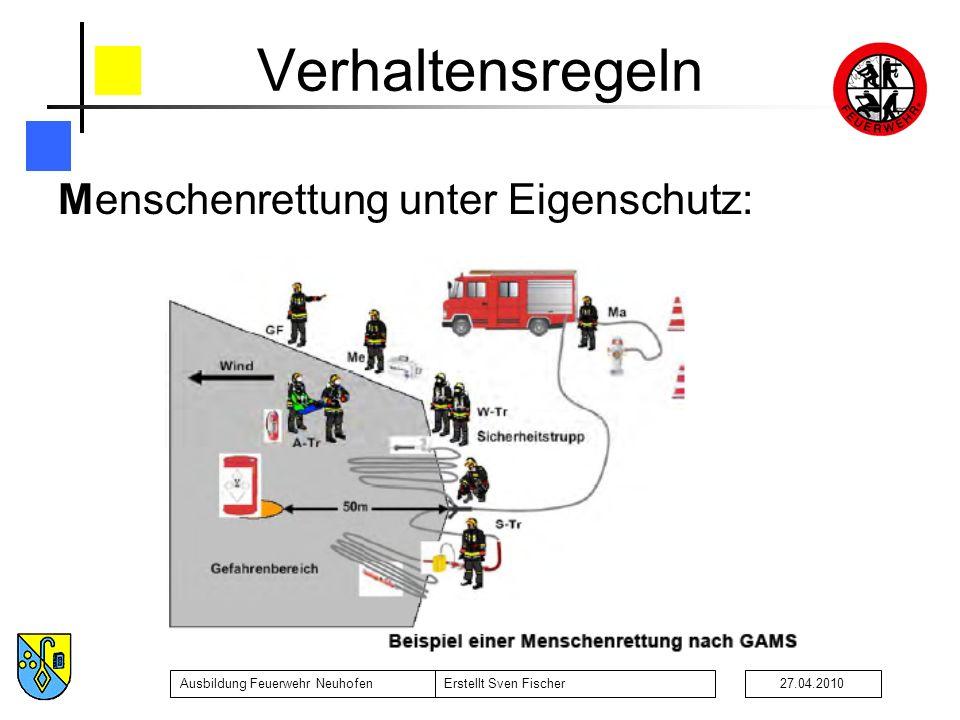 Ausbildung Feuerwehr NeuhofenErstellt Sven Fischer27.04.2010 Verhaltensregeln Menschenrettung unter Eigenschutz: