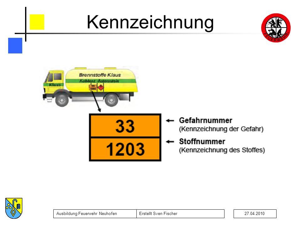 Ausbildung Feuerwehr NeuhofenErstellt Sven Fischer27.04.2010 Kennzeichnung 23456789X023456789X0 Entweichen von Gas (Druck o.