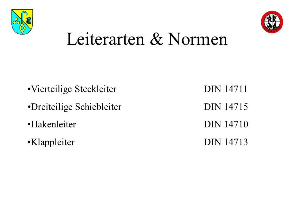 Leiterarten & Normen Vierteilige SteckleiterDIN 14711 Dreiteilige SchiebleiterDIN 14715 HakenleiterDIN 14710 KlappleiterDIN 14713