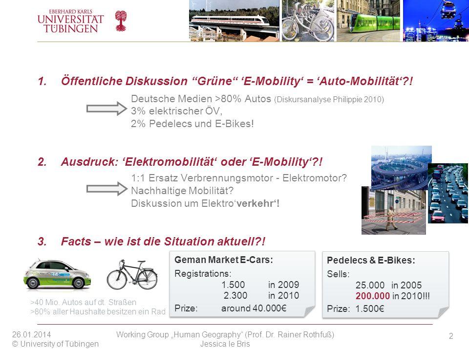 1.Öffentliche Diskussion Grüne E-Mobility = Auto-Mobilität?! Deutsche Medien >80% Autos (Diskursanalyse Philippie 2010) 3% elektrischer ÖV, 2% Pedelec