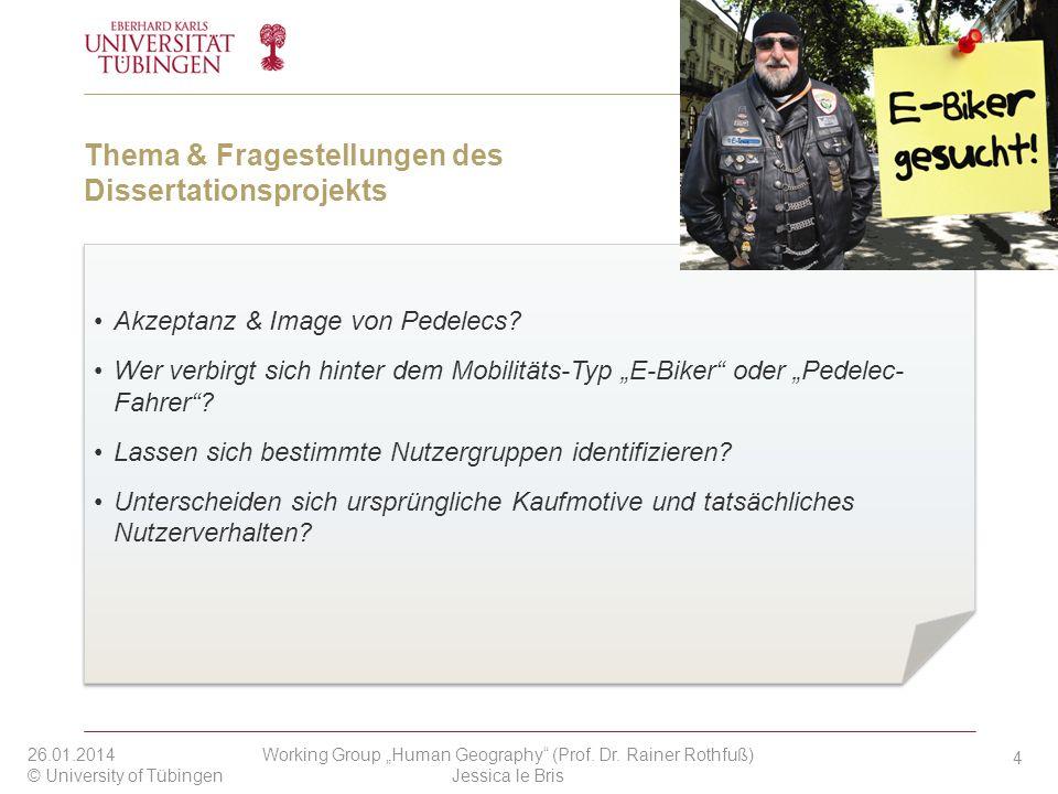Thema & Fragestellungen des Dissertationsprojekts Akzeptanz & Image von Pedelecs? Wer verbirgt sich hinter dem Mobilitäts-Typ E-Biker oder Pedelec- Fa
