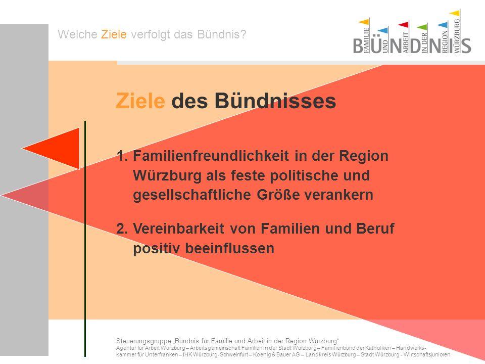 1. Familienfreundlichkeit in der Region Würzburg als feste politische und gesellschaftliche Größe verankern Welche Ziele verfolgt das Bündnis? Steueru
