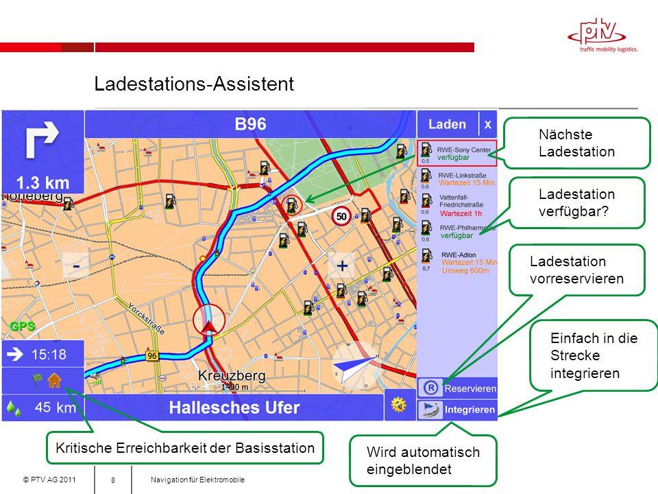 © PTV AG 2011Navigation für Elektromobile Ladestations-Assistent 8 Nächste Ladestation Kritische Erreichbarkeit der Basisstation Einfach in die Strecke integrieren Wird automatisch eingeblendet Ladestation verfügbar.