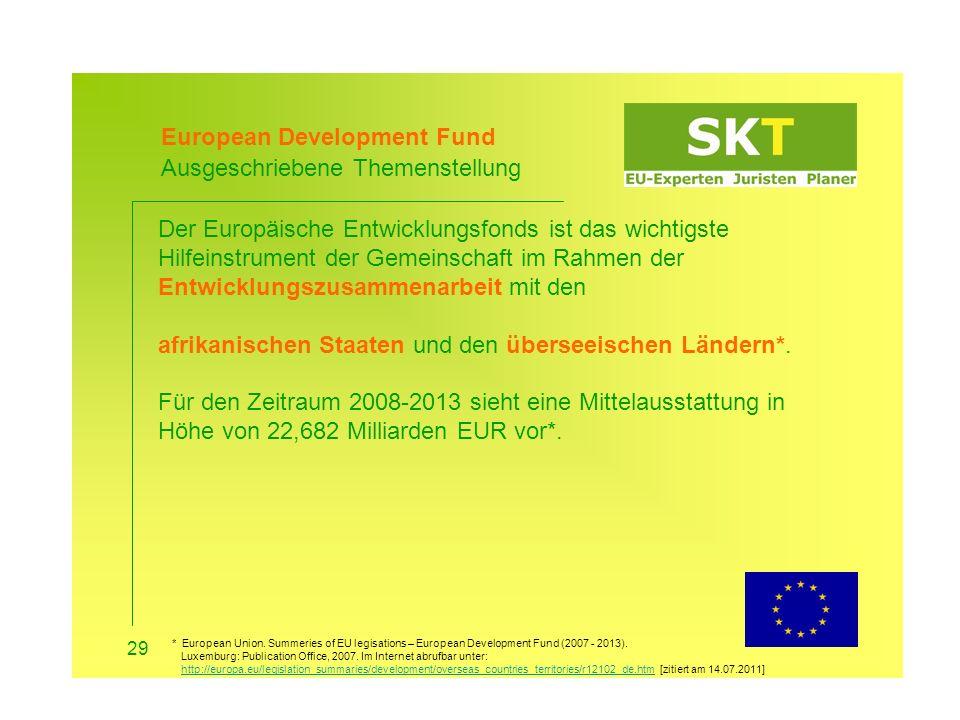 European Development Fund Ihre Teilnahme 30 Antragsberechtigte: Dezentrale Einrichtungen und Körperschaften in Partnerländern und -regionen, gemischten Organisationen, internationale und regionale Organisationen, internationalen Finanzinstitutionen, Europäischen Institutionen und Agenturen zu einem gewissen Grad, nicht-staatliche Akteure.