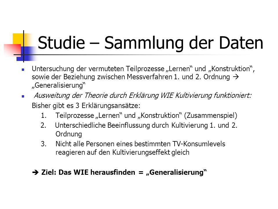 Studie – Sammlung der Daten Untersuchung der vermuteten Teilprozesse Lernen und Konstruktion, sowie der Beziehung zwischen Messverfahren 1. und 2. Ord