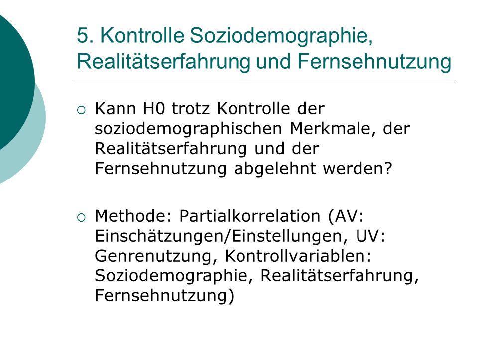 5. Kontrolle Soziodemographie, Realitätserfahrung und Fernsehnutzung Kann H0 trotz Kontrolle der soziodemographischen Merkmale, der Realitätserfahrung