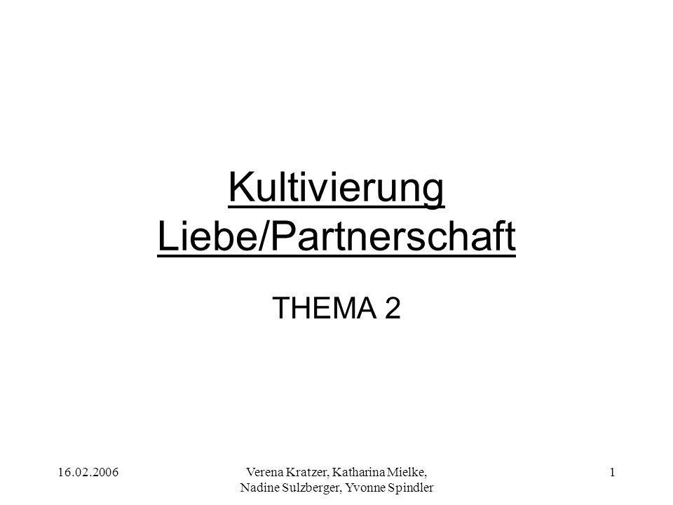 16.02.2006Verena Kratzer, Katharina Mielke, Nadine Sulzberger, Yvonne Spindler 2 Hypothesen H1: Es gibt einen Zusammenhang zwischen Fernsehnutzung insgesamt und den Einschätzungen zum Thema Liebe und Partnerschaft.