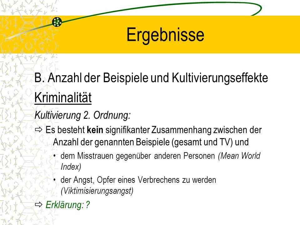 Ergebnisse B.Anzahl der Beispiele und Kultivierungseffekte Reichtum Kultivierung 1.