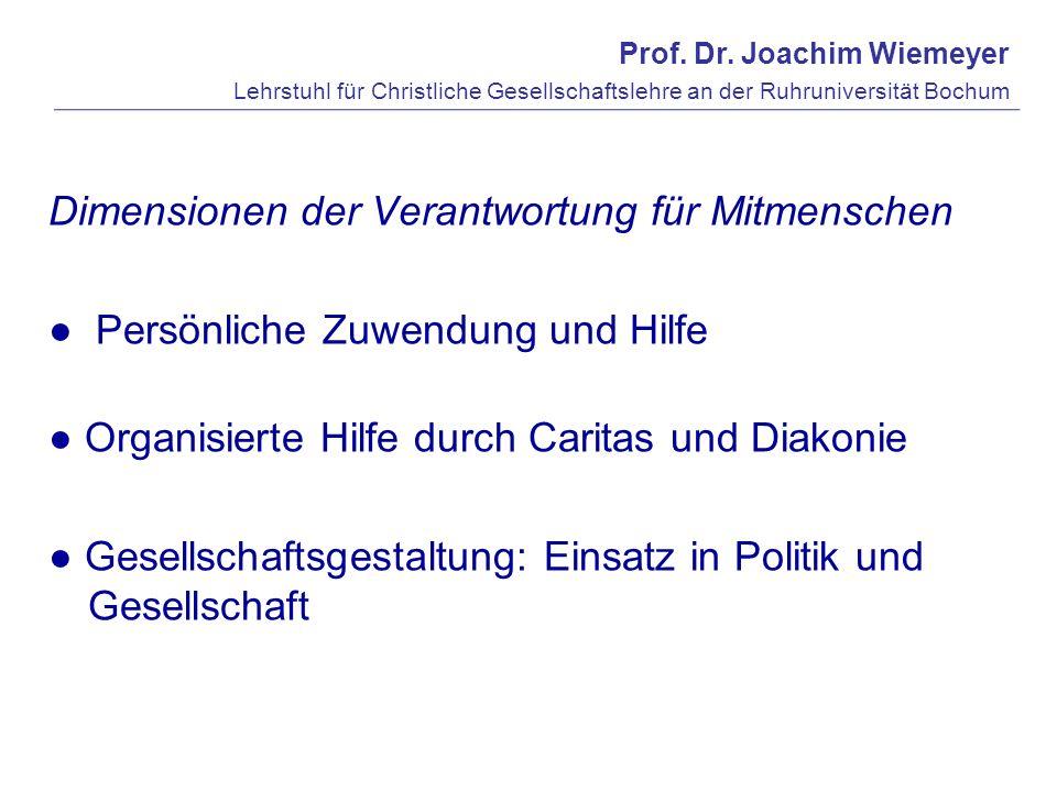 Prof. Dr. Joachim Wiemeyer Lehrstuhl für Christliche Gesellschaftslehre an der Ruhruniversität Bochum Dimensionen der Verantwortung für Mitmenschen Pe