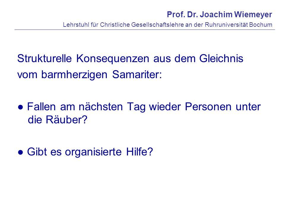 Prof. Dr. Joachim Wiemeyer Lehrstuhl für Christliche Gesellschaftslehre an der Ruhruniversität Bochum Strukturelle Konsequenzen aus dem Gleichnis vom