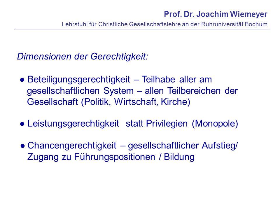 Prof. Dr. Joachim Wiemeyer Lehrstuhl für Christliche Gesellschaftslehre an der Ruhruniversität Bochum Dimensionen der Gerechtigkeit: Beteiligungsgerec