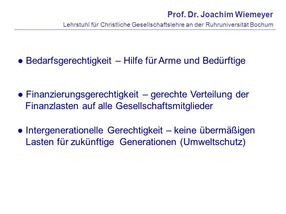 Prof. Dr. Joachim Wiemeyer Lehrstuhl für Christliche Gesellschaftslehre an der Ruhruniversität Bochum Finanzierungsgerechtigkeit – gerechte Verteilung