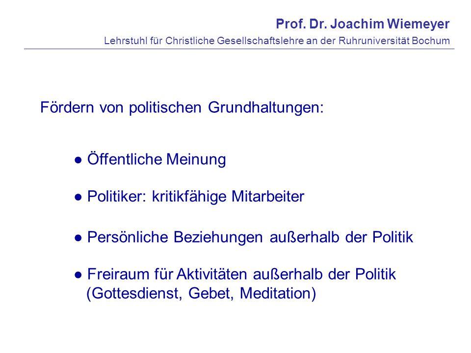 Prof. Dr. Joachim Wiemeyer Lehrstuhl für Christliche Gesellschaftslehre an der Ruhruniversität Bochum Fördern von politischen Grundhaltungen: Öffentli