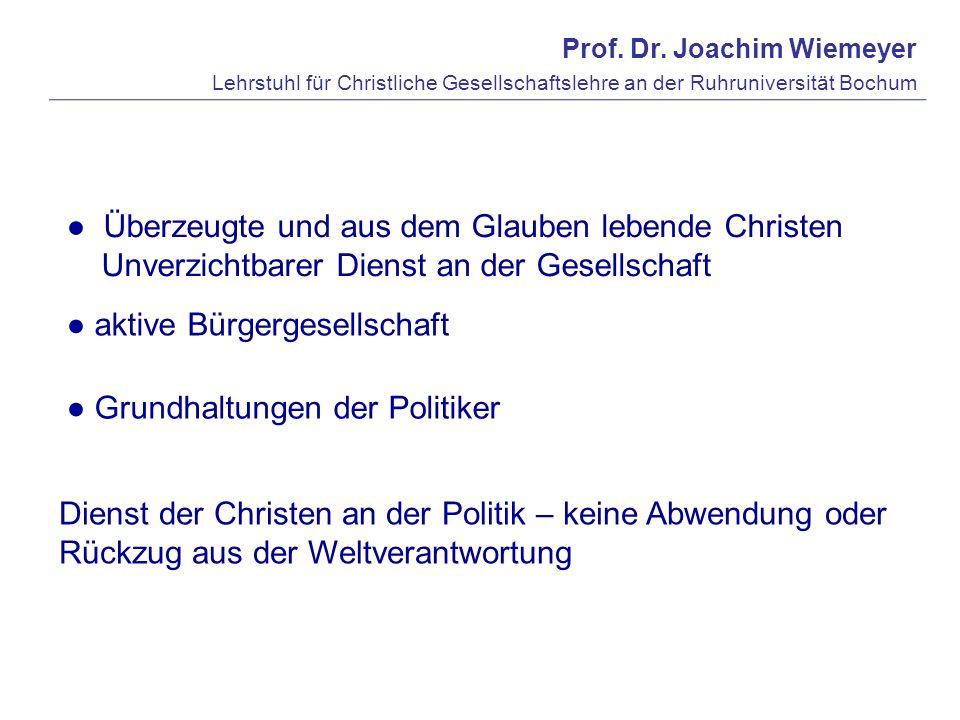 Prof. Dr. Joachim Wiemeyer Lehrstuhl für Christliche Gesellschaftslehre an der Ruhruniversität Bochum aktive Bürgergesellschaft Grundhaltungen der Pol