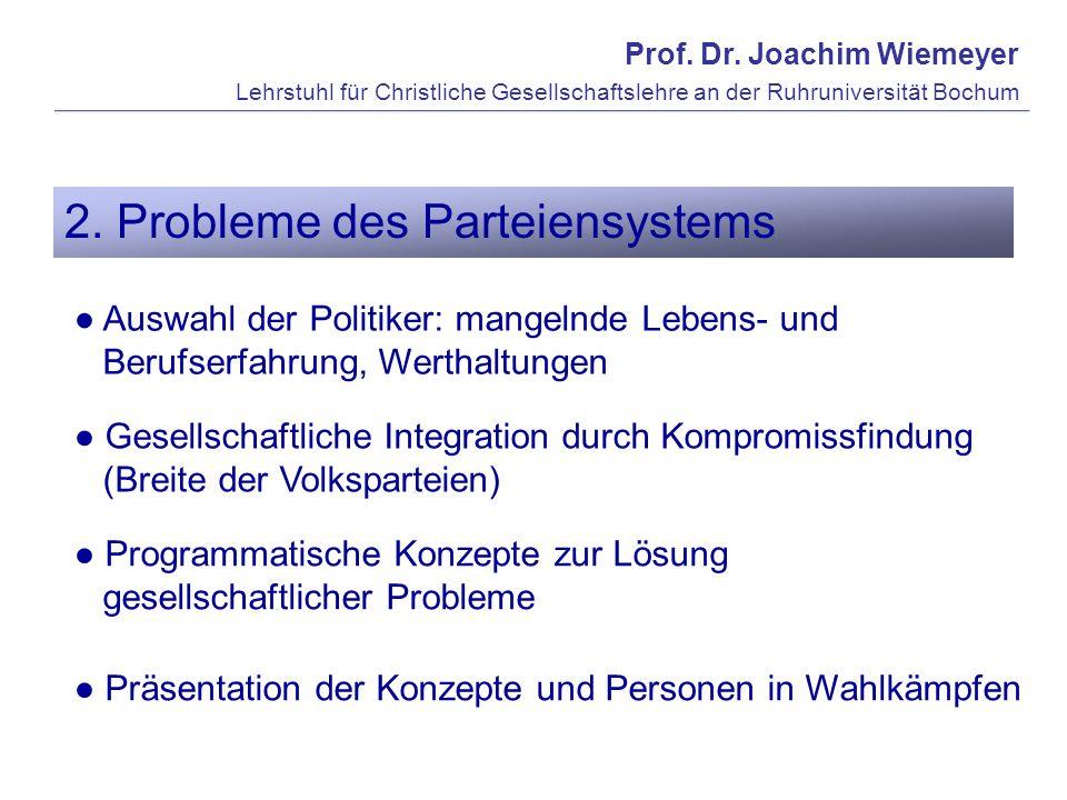 Prof. Dr. Joachim Wiemeyer Lehrstuhl für Christliche Gesellschaftslehre an der Ruhruniversität Bochum 2. Probleme des Parteiensystems Auswahl der Poli