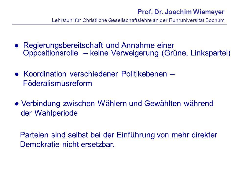 Prof. Dr. Joachim Wiemeyer Lehrstuhl für Christliche Gesellschaftslehre an der Ruhruniversität Bochum Regierungsbereitschaft und Annahme einer Opposit