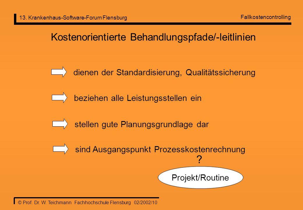 13. Krankenhaus-Software-Forum Flensburg © Prof. Dr. W. Teichmann Fachhochschule Flensburg 02/2002/10 Kostenorientierte Behandlungspfade/-leitlinien d
