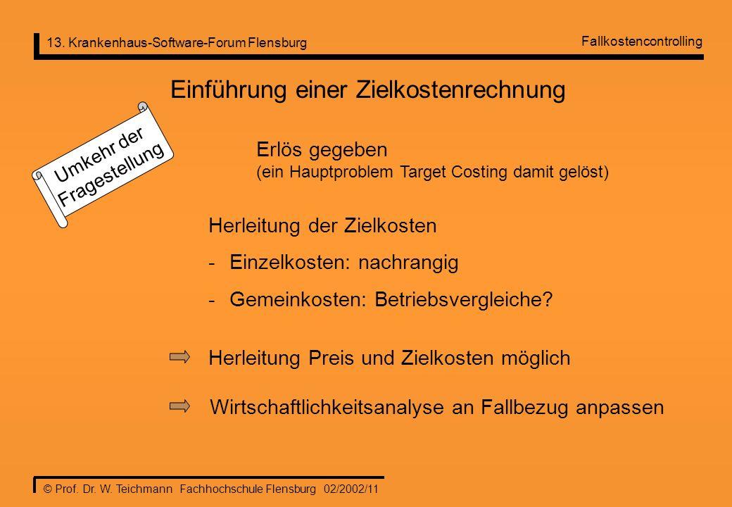 13. Krankenhaus-Software-Forum Flensburg © Prof. Dr. W. Teichmann Fachhochschule Flensburg 02/2002/11 Einführung einer Zielkostenrechnung Umkehr der F