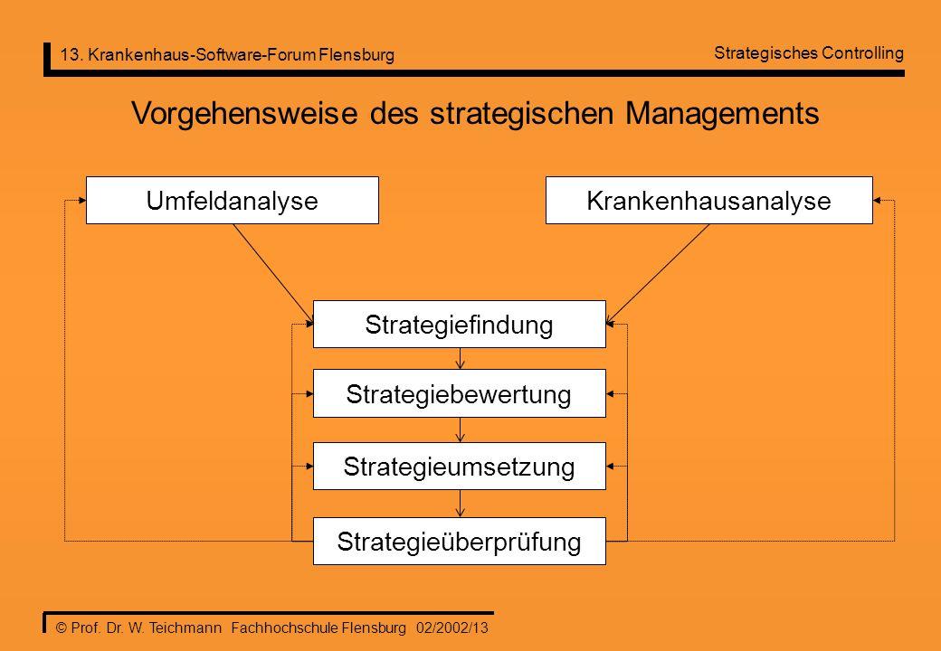 13. Krankenhaus-Software-Forum Flensburg © Prof. Dr. W. Teichmann Fachhochschule Flensburg 02/2002/13 Strategiefindung Strategieumsetzung Strategieübe