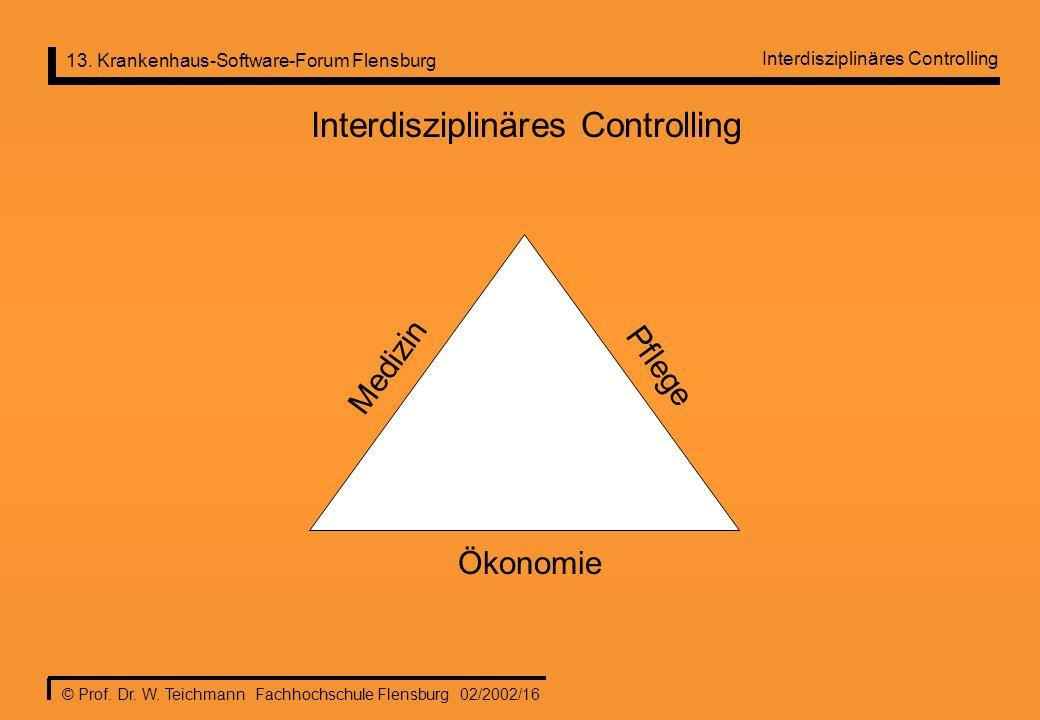 13. Krankenhaus-Software-Forum Flensburg © Prof. Dr. W. Teichmann Fachhochschule Flensburg 02/2002/16 Interdisziplinäres Controlling Ökonomie Pflege M