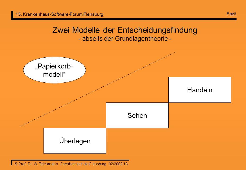 13. Krankenhaus-Software-Forum Flensburg © Prof. Dr. W. Teichmann Fachhochschule Flensburg 02/2002/18 Zwei Modelle der Entscheidungsfindung - abseits